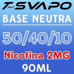 T-Svapo - Kit Base Neutra 50/40/10 Nicotina 2mg 90ml