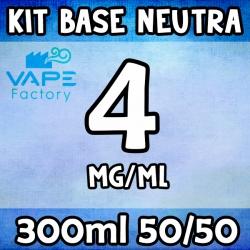 VapeFactory - Kit Base Neutra 300ml 50/50 Nicotina 4mg