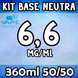 VapeFactory - Kit Base Neutra 360ml 50/50 Nicotina 6.6mg
