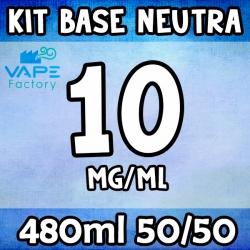 VapeFactory - Kit Base Neutra 480ml 50/50 Nicotina 10mg